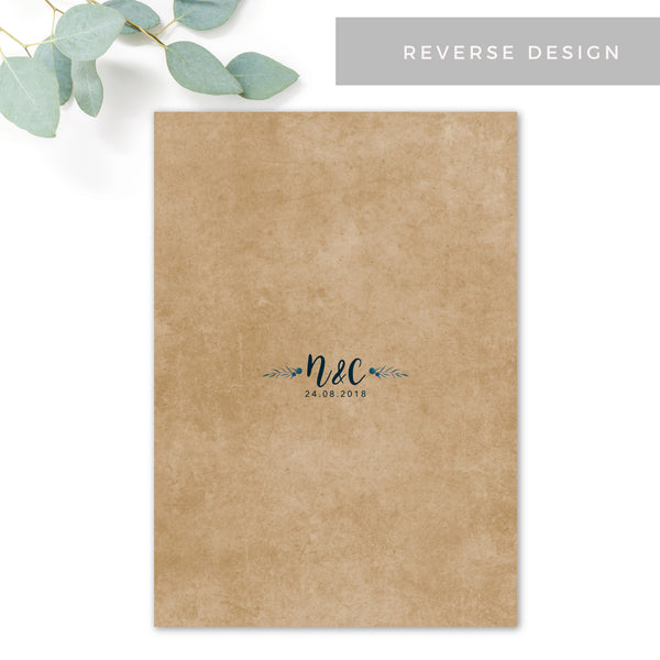 Astbury Navy Blue Kraft Rustic Floral Wedding Menu Cards reverse design with monogram