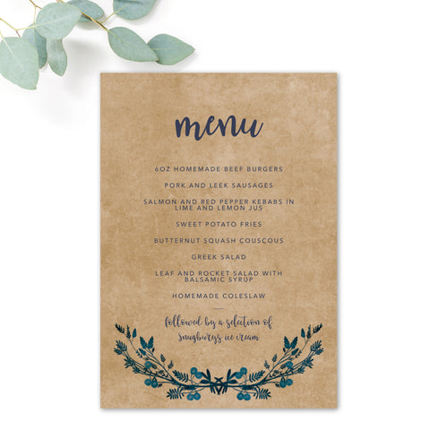 Astbury Navy Blue Kraft Rustic Floral Wedding Menu Cards