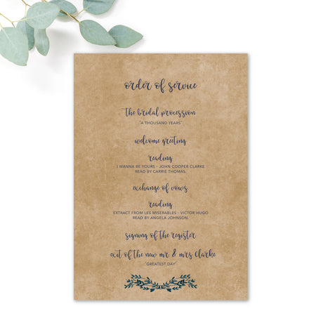 Astbury Navy Blue Kraft Rustic Floral Wedding Order of Service page 2