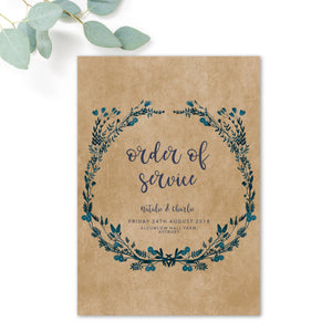 Astbury Navy Blue Kraft Rustic Floral Wedding Order of Service