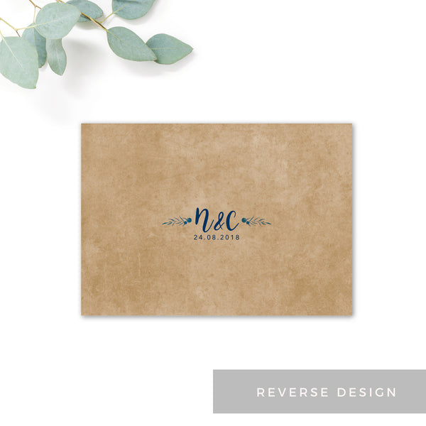 Astbury Navy Blue Kraft Rustic Floral Wedding Save the Date Card with monogram reverse