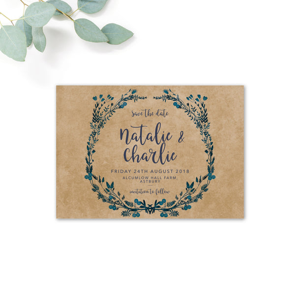 Astbury Navy Blue Kraft Rustic Floral Wedding Save the Date Card