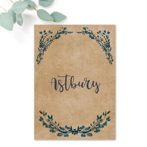 Astbury Navy Blue Kraft Rustic Floral Wedding Table Names