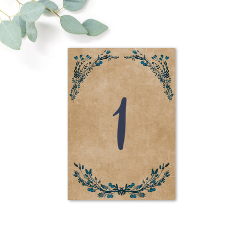 Astbury Navy Blue Kraft Rustic Floral Wedding Table Numbers