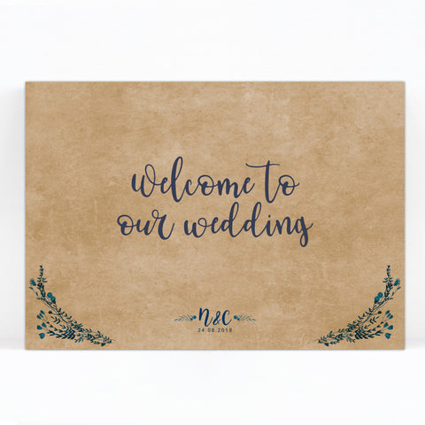 Kraft Rustic Navy Blue Welcome Sign