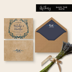 Astbury Navy Blue Kraft Rustic Floral Wedding Save the Date Suite