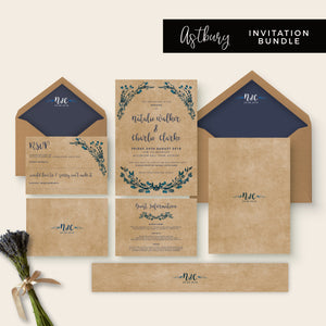 Astbury Navy Blue Kraft Rustic Floral Wedding Invitation Bundle