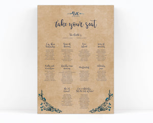 Rustic Kraft Navy Blue Wedding Table Plan