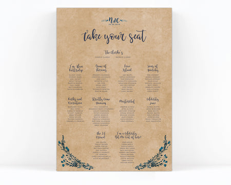 Astbury Navy Blue White Rustic Floral Wedding Table Plan Sign