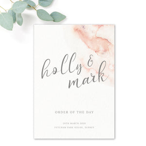 Aurora Watercolour Coral Blush Grey Wedding Order of the day