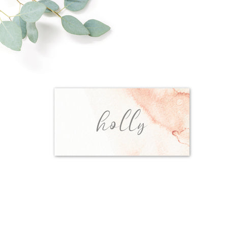 Aurora Watercolour Coral Blush Grey Wedding Personalised Place Cards