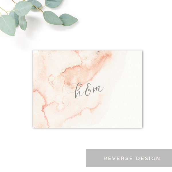 Aurora Watercolour Coral Blush Grey Wedding Save the Card Reverse Design Monogram