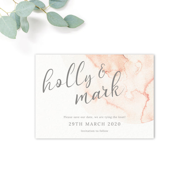 Aurora Watercolour Coral Blush Grey Wedding Save the Card