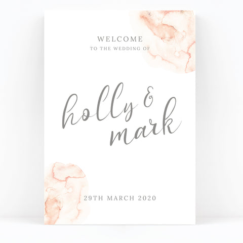 Aurora Watercolour Coral Blush Grey Welcome to the wedding of Sign