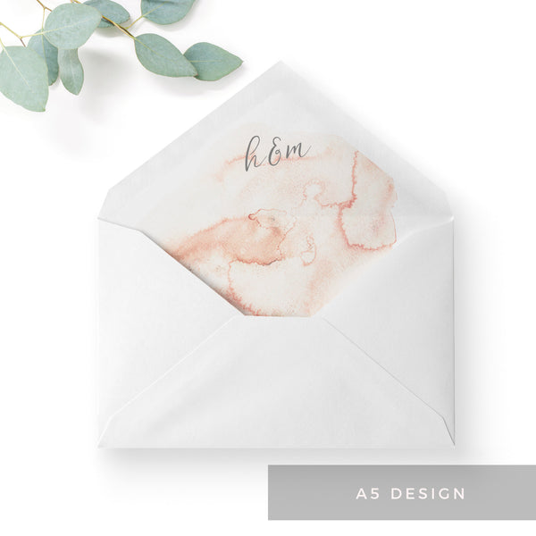 Aurora Watercolour Coral Blush Grey Wedding Envelope Liners A5 C5