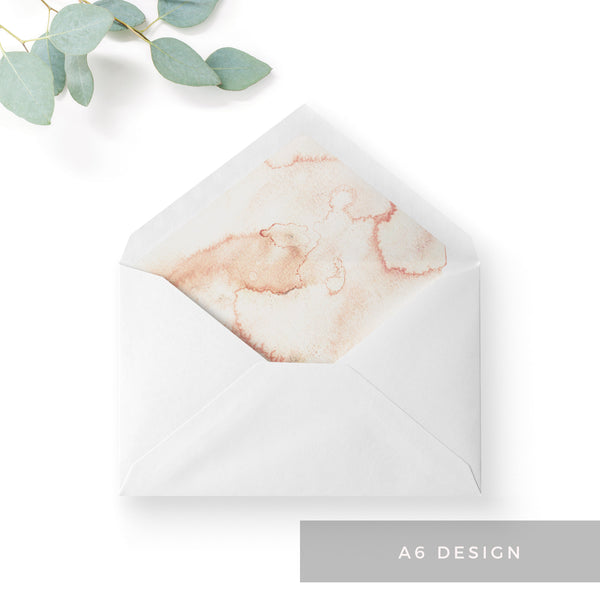 Aurora Watercolour Coral Blush Grey Wedding Envelope Liners A6