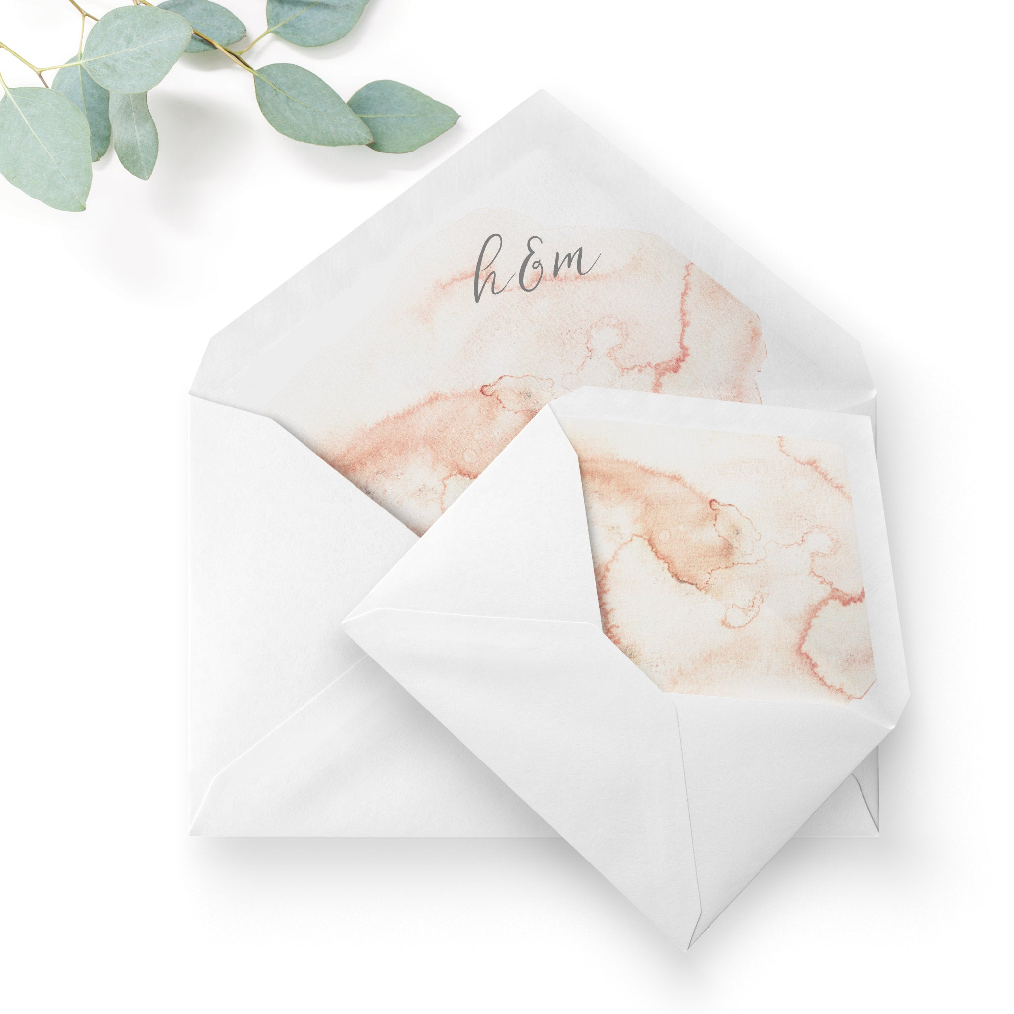 Aurora Watercolour Coral Blush Grey Wedding Envelope Liners