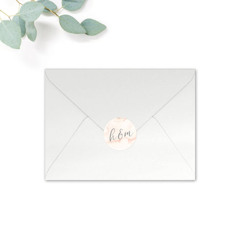 Aurora Personalised Round Wedding Seal Stickers for Envelopes
