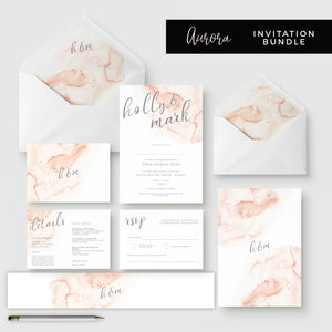 Aurora Watercolour Coral Blush Grey Wedding Invitation Suite