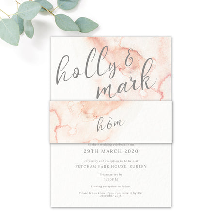 Aurora Watercolour Coral Blush Grey Wedding RSVP Card Monogram Reverse