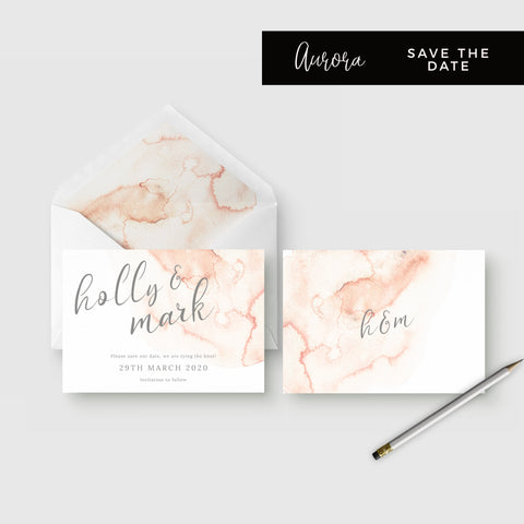 Aurora Watercolour Coral Blush Grey Wedding Save the Date Card and Envelope Liner