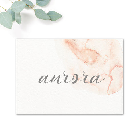 Aurora Watercolour Coral Blush Grey Wedding Table Names