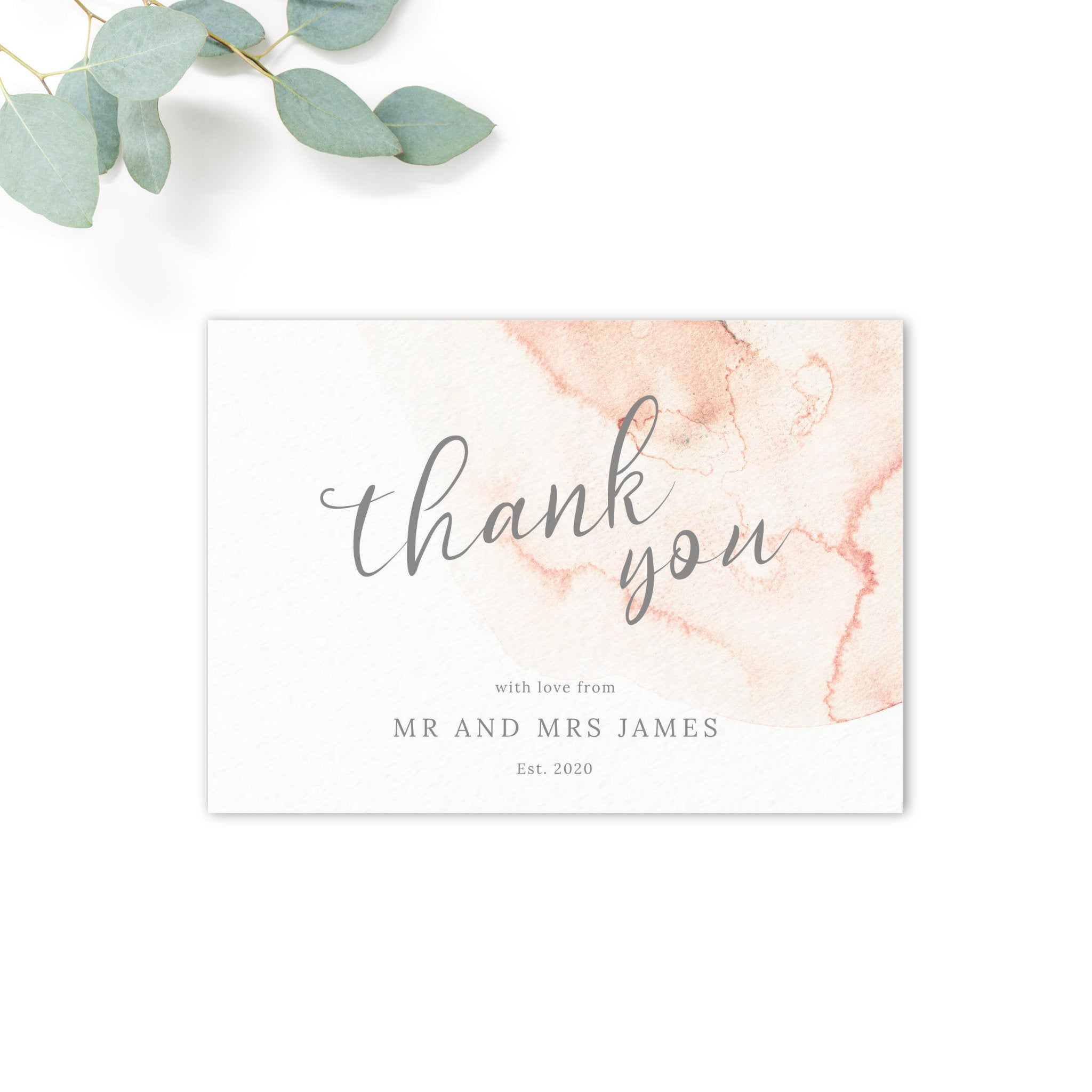 Aurora Watercolour Coral Blush Grey Wedding Thank You Card