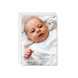 Baby Elephant Baby Photo Thank You Card - Grey and White