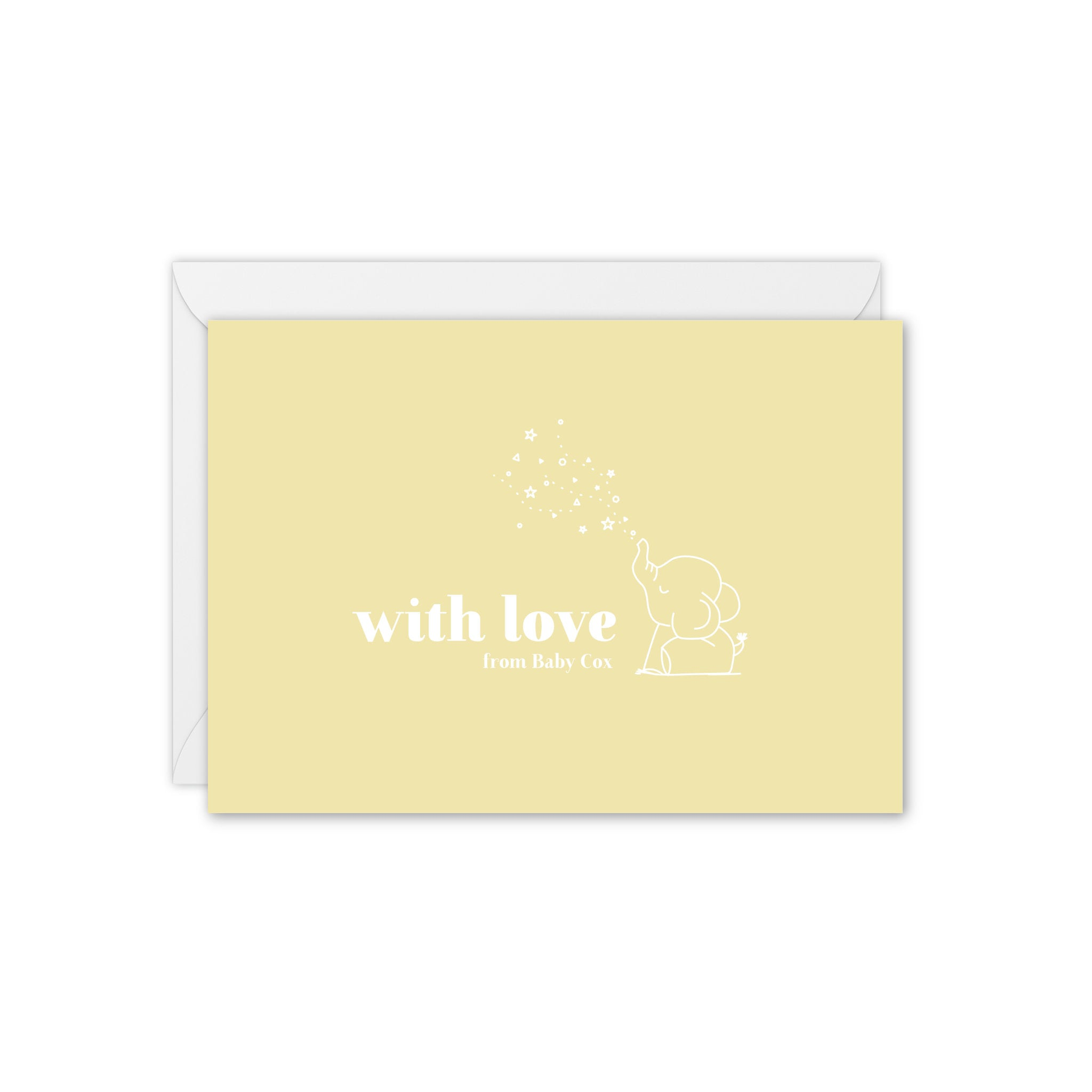 Baby Elephant Personalised Baby / Baby Shower Thank You Card - Yellow and White