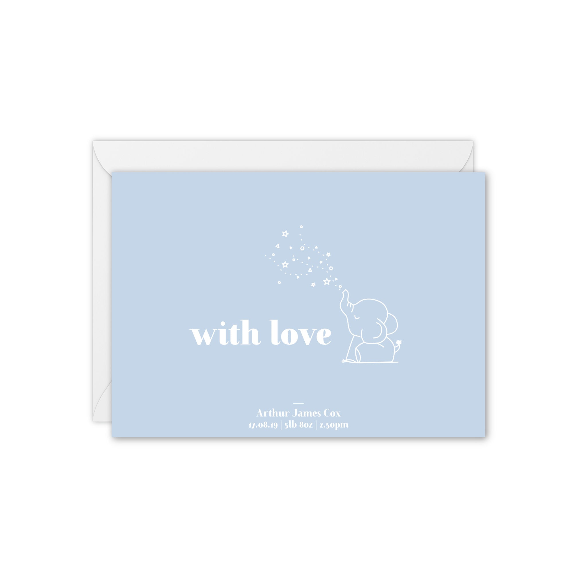 Baby Elephant Personalised Baby Thank You Card - Blue and White