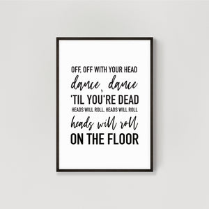 Personalised Song Lyrics Wall Art Print