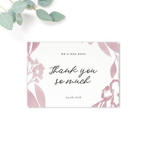 Blossom Blush Pink Wedding Thank You Card