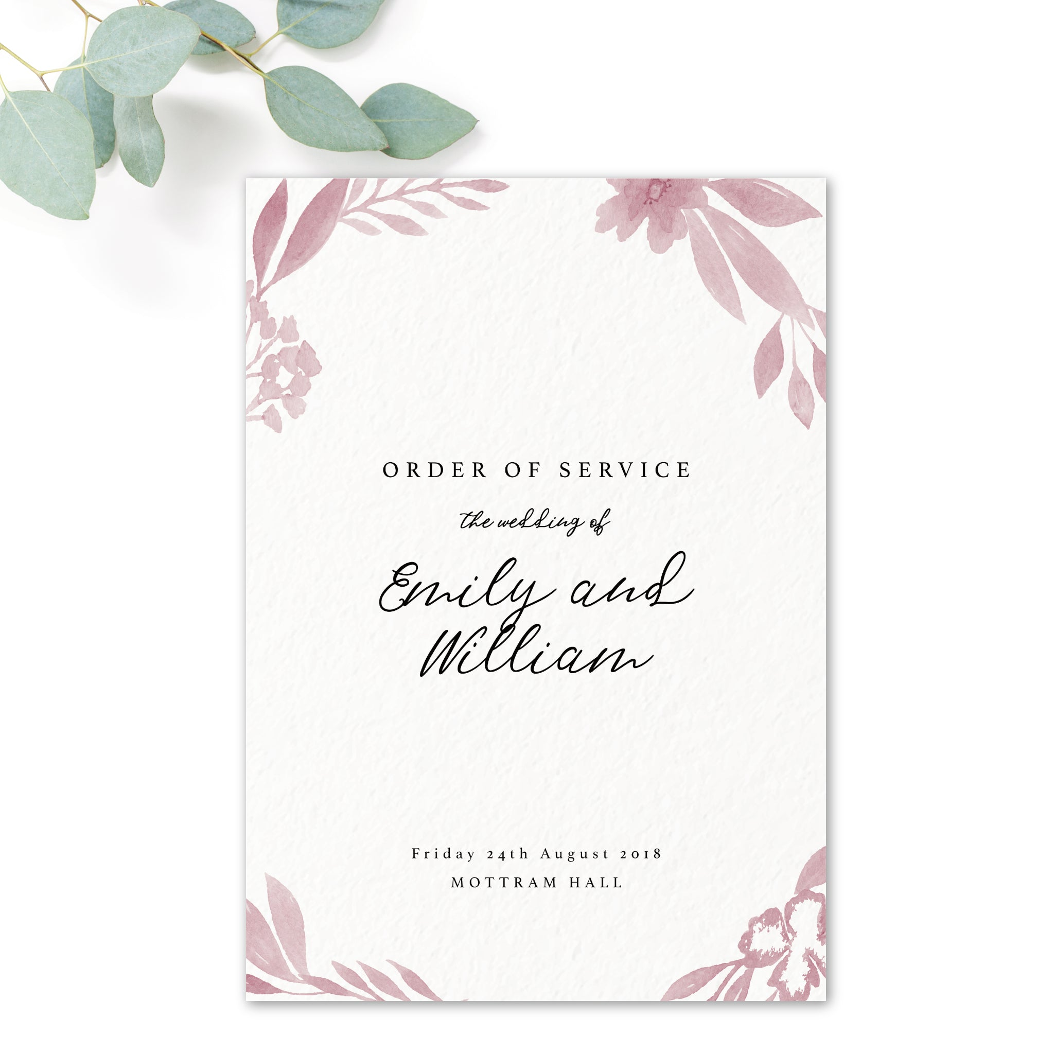 Blossom Blush Pink Order of Service