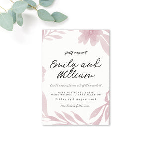 Blossom Personalised Wedding Postponement Card