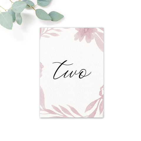 Blossom Blush Pink Wedding table numbers