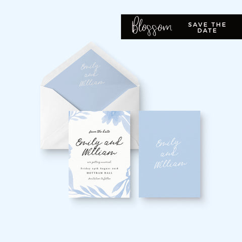 Blossom Powder Blue Floral Wedding Save the Date