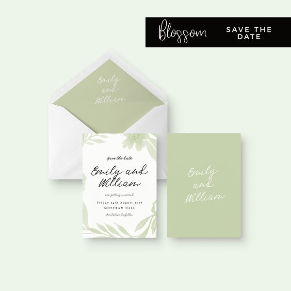 Blossom Sage Green Floral Wedding Save the Date Card