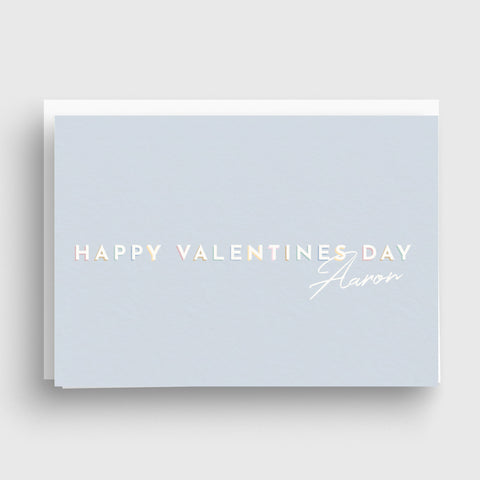 Pastel Personalised Valentines Day Card with Name - Blue