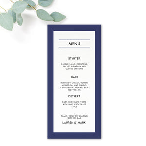Brittany navy nautical wedding menu cards