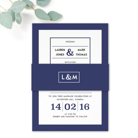 Brittany Navy Nautical Wedding Invitation Belly Band