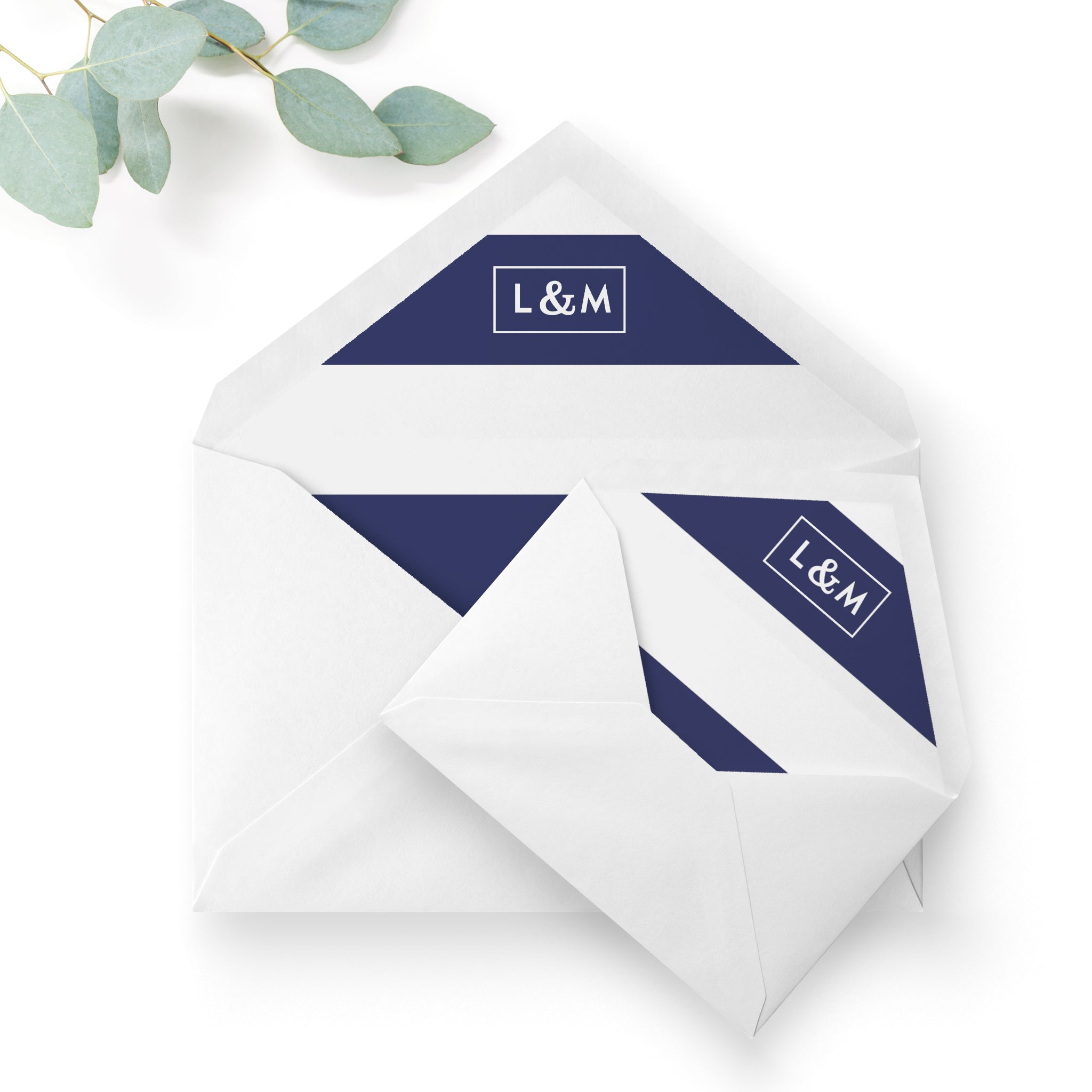 Brittany Navy Nautical Wedding Envelope Liners