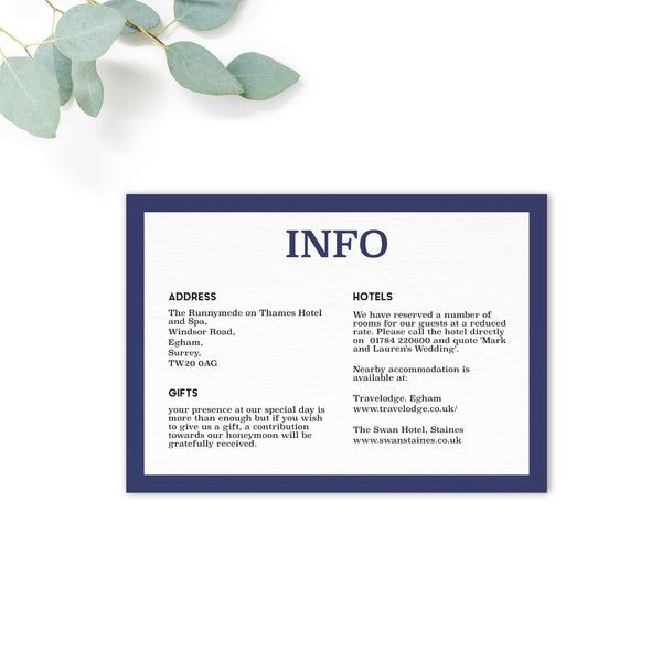Brittany Navy Nautical Wedding Information Card