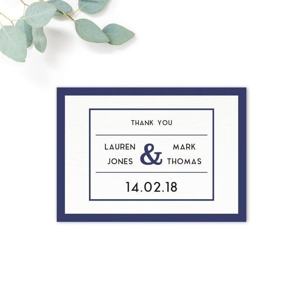 Brittany navy nautical thank you card