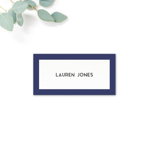 Brittany navy nautical wedding place card