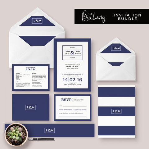 Brittany Navy nautical wedding invitation bundle