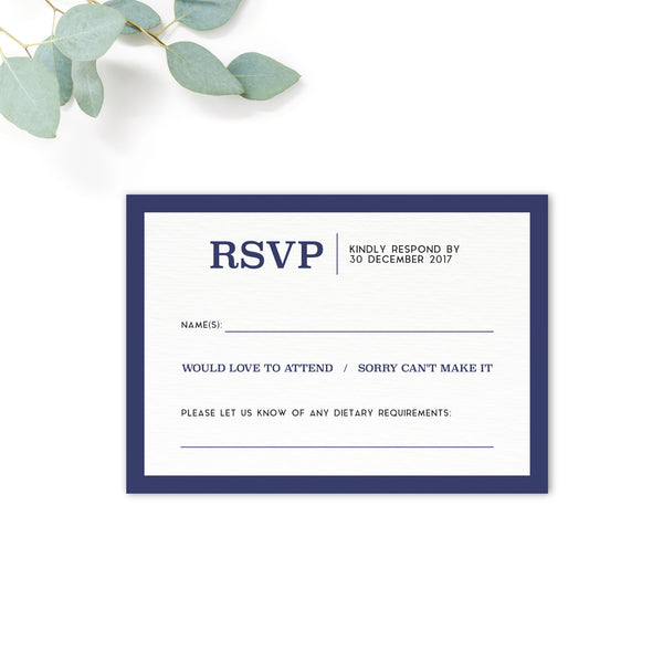 Brittany Navy Nautical Wedding RSVP Card