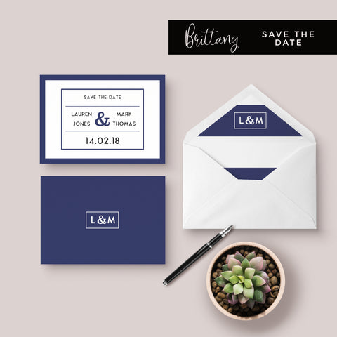 Brittany Navy Nautical Wedding Invitation Suite