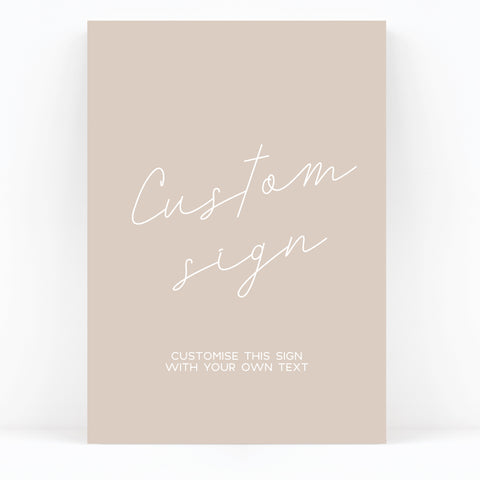 Carter Modern Nude Neutral Custom Wedding Sign