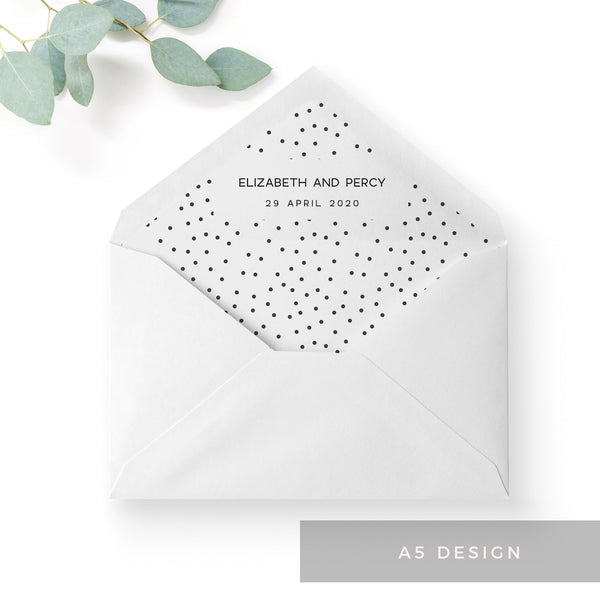 Carter Modern Monochrome Polka Dot Wedding Envelope Liner to fit A5 C5