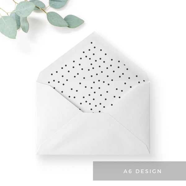 Carter Modern Monochrome Polka Dot Wedding Envelope Liner to fit A6 C6